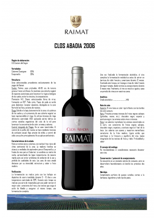 RAIMAT CLOS ABADÍA 2006