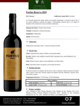 FORTIUS RESERVA 2010